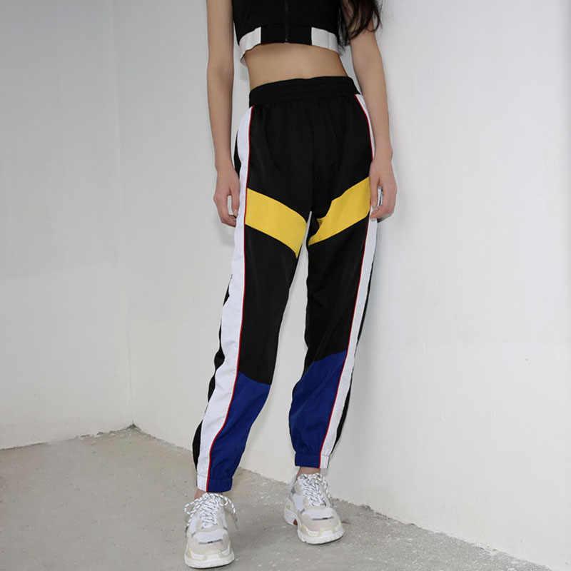 Sweetown Harajuku Hip Hop Hàng Hóa Quần Thời Trang Dạo Phố Phụ Nữ Phong Cách Đường Phố Pantalon Femme Panelled Ghép Cao Eo Jogger Thể Thao