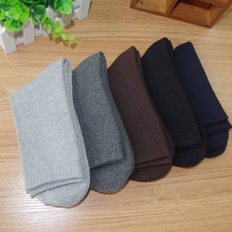 Cotton Quality Men Spring Autumn Winter Warm Socks Deodorant Breathable Soft Business Casual Solid Colors Sock (5 pairs) ...