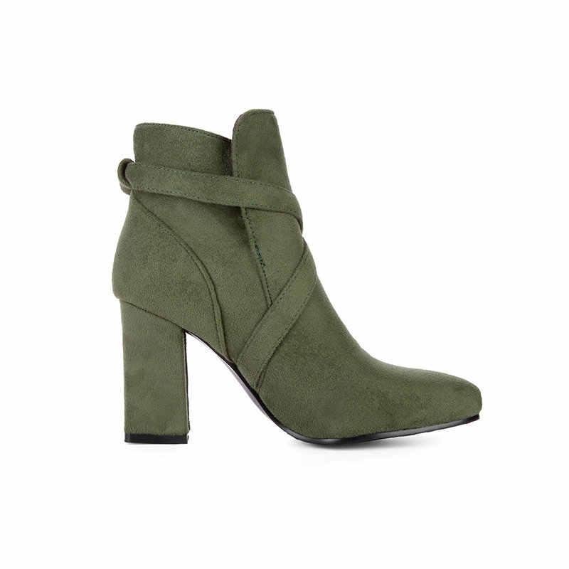 Sahte Süet Kalın Yüksek Topuk Üzerinde Kayma yarım çizmeler Moda Toka Kadın Kış Ayakkabı Siyah Yeşil Şarap Kırmızı Artı Boyutu