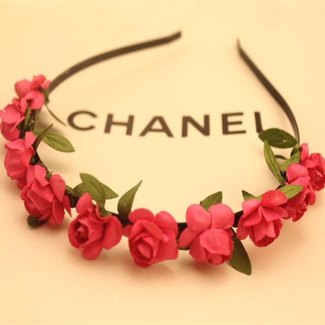 Bohemia de guirlanda de flores coroa de flores hairbands headbands para mulheres casamento acessórios de cabelo