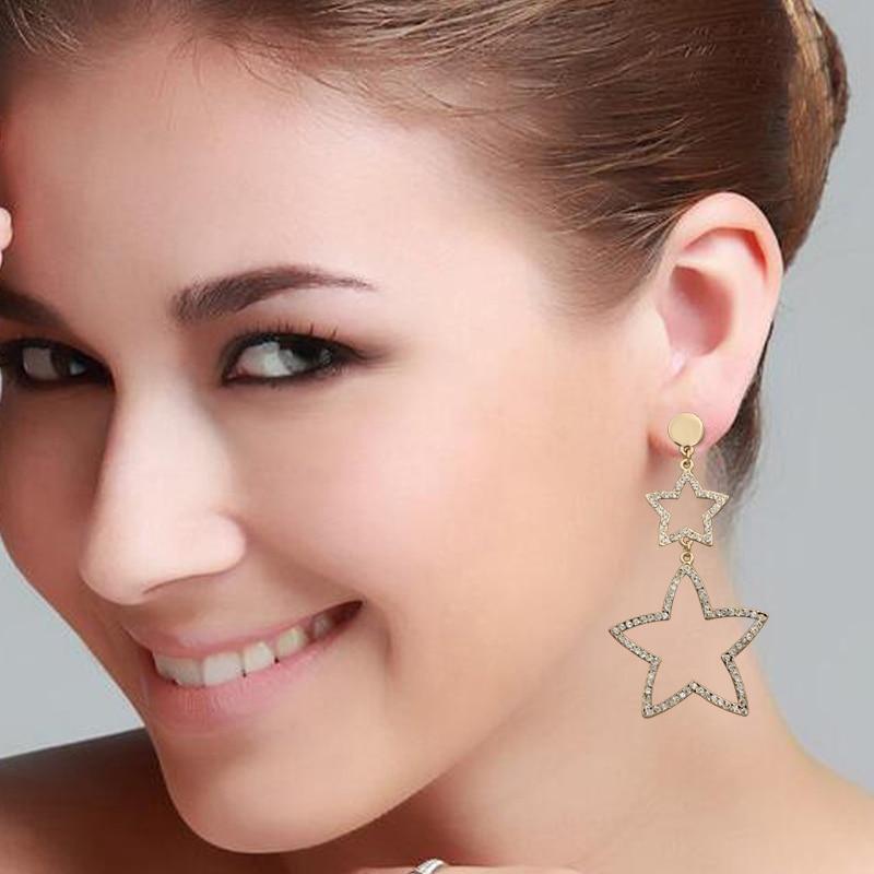 punk hip hop hyperbole hollow out rhinestone stars dangle earrings for women girls gifts jewelry high quality fce010