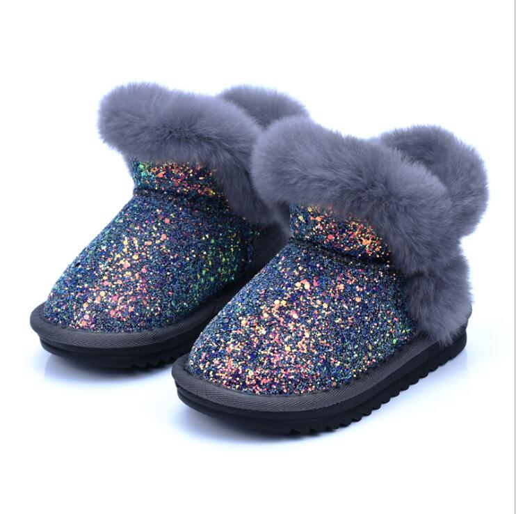 Toddler Shoes Bling Outdoor Baby-Boys-Girls Snow-Boots Winter Plush Solid PU Warm