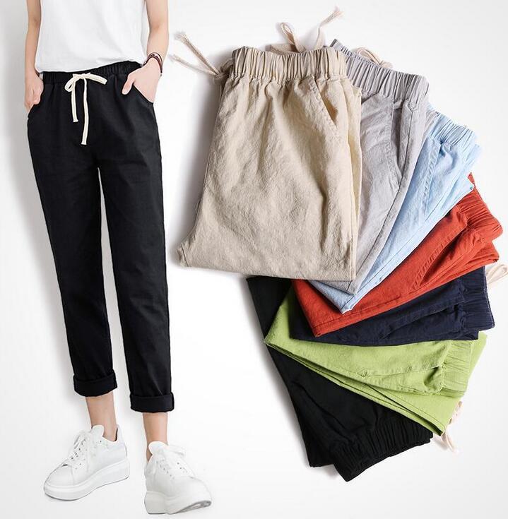 2019 Cotton Linen   Pants   for Women Trousers Loose Casual Solid Color Women Harem   Pants     Capri   Women's Summer ladies pencil   pants