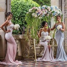 Blush Cheap Mermaid Bridesmaid Dresses 2016 Spaghetti Sweetheart Satin Formal Wedding Party Dresses Maid of Honor Gowns FF97