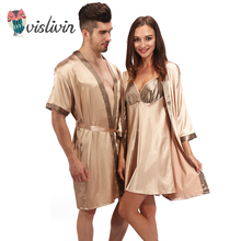 Vislivin men women's pajamas nightwear sexy sleepwear lingerie sleepshirts nightgowns sleeping dress good nightdress lover's