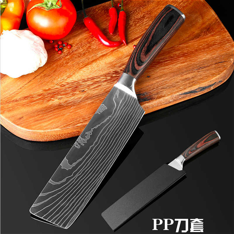 Kitchen Knife 7 inch Professional Chef Knives Japanese 7CR17 440C High Carbon Stainless Steel Meat Santoku Knife Pakka Wood