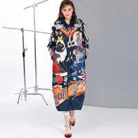 Alta calidad 2019 nuevo temperamento moda parka suelta impresión Vintage x-long mujeres abajo abrigo de invierno chaqueta caliente Mujer abrigo