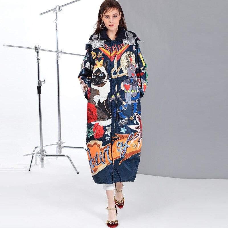 Haute qualité 2018 nouveau Tempérament De Mode Lâche parka Impression Vintage X-Longues femmes vers le bas manteau d'hiver Veste Chaude Femelle pardessus