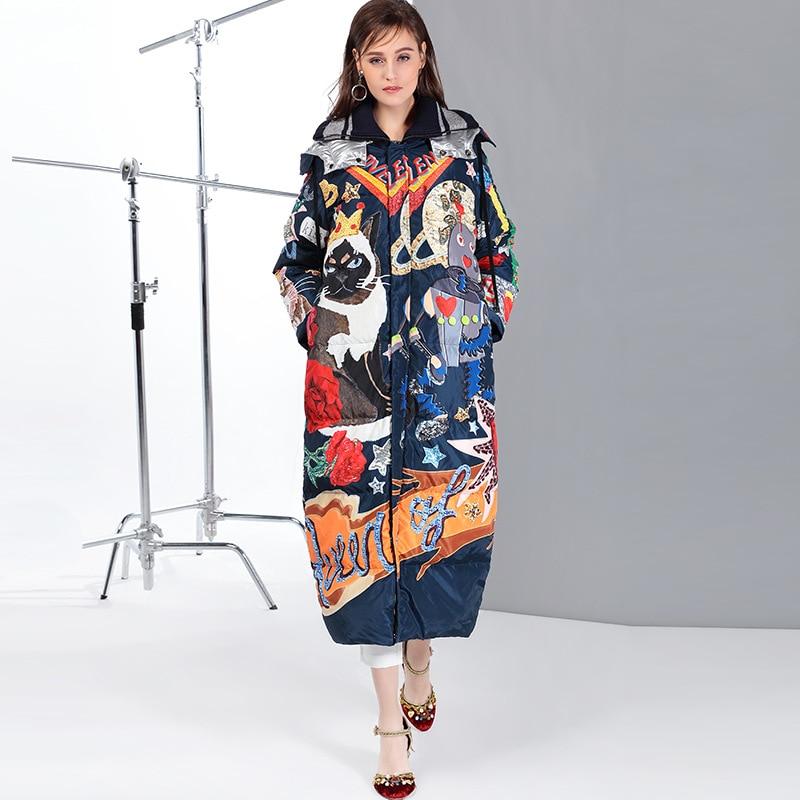 Haute qualité 2019 nouveau tempérament mode lâche parka imprimer Vintage x-long femmes vers le bas hiver manteau chaud veste femme pardessus