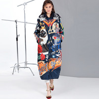 High quality 2019 new Temperament Fashion Loose parka Print Vintage X Long women down winter coat Warm Jacket Female Overcoat