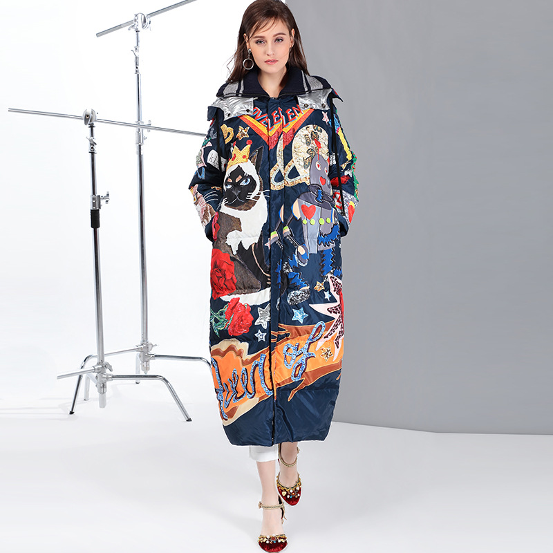 High Quality 2019 New Temperament Fashion Loose Parka Print Vintage X-Long Women Down Winter Coat Warm Jacket Female Overcoat