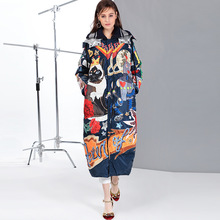 High quality 2019 new Temperament Fashion Loose parka Print Vintage X-Long women down