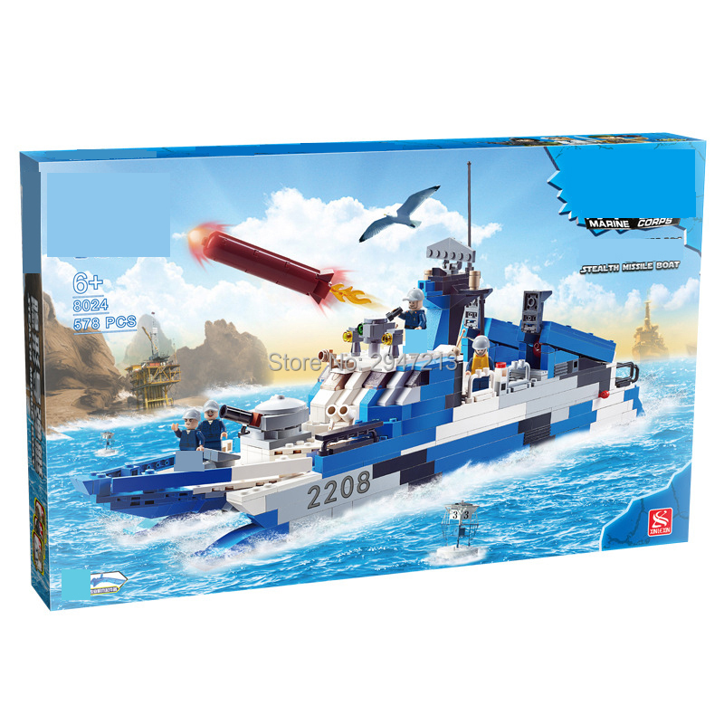 hot compatible LegoINGlys Military mini navy figures brick with Stealth missile frigate Model Building blocks toys for children enlighten building blocks navy frigate ship assembling building blocks military series blocks girls
