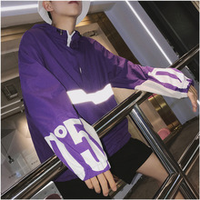 Summer New Thin Jacket Men Fashion Contrast Color Reflective Strip Casual Hooded Street Hip Hop Loose Bomber