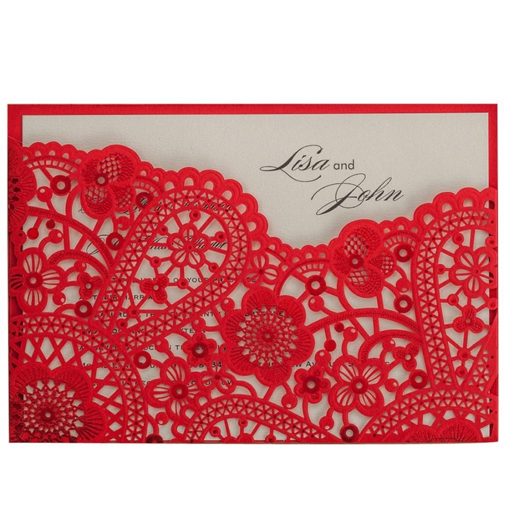 Pocket Fold Red Laser Cut Wedding Invitation Card Hollow Flora ...