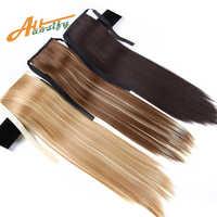 Allaosify queue de poney synthétique résistant à la chaleur fausse Extensions de cheveux cheveux 22 ''longue queue de cheval droite Clip en queue de cheval cordon