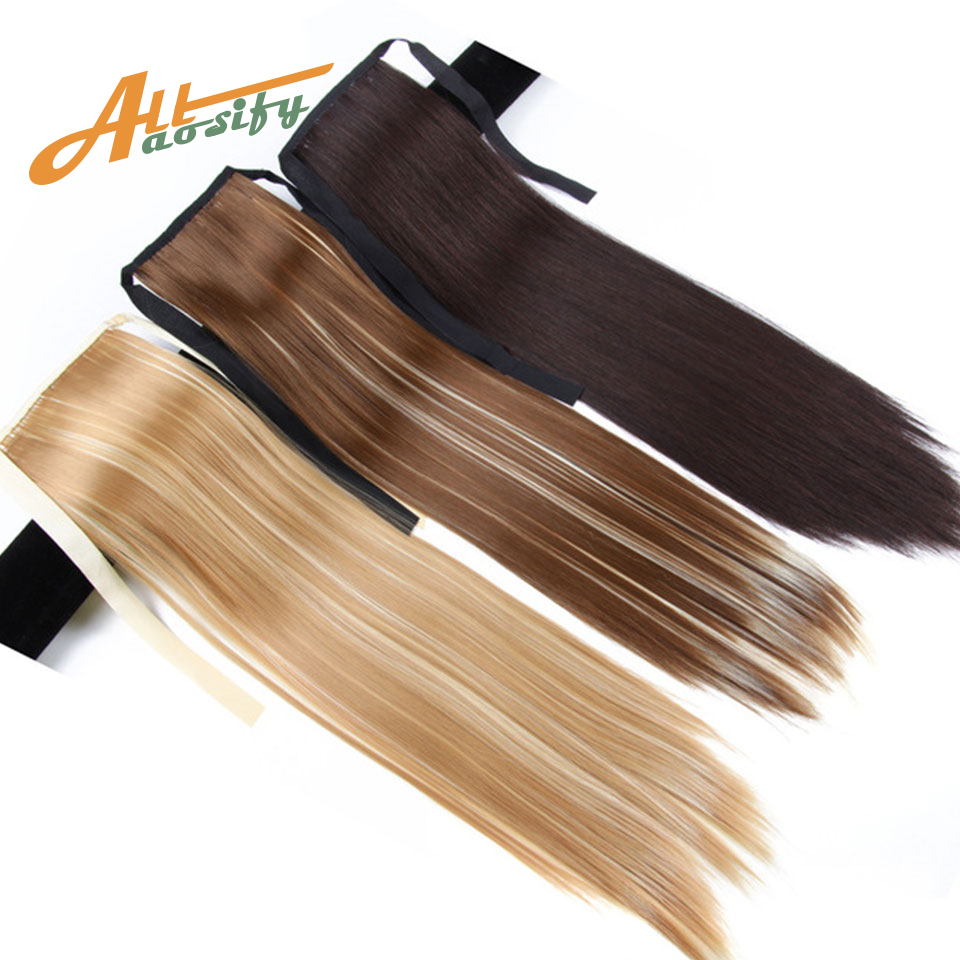 Allaosify Synthetic Pony Tail Heat Resistant Fake Hair Extensions Hair 22'' Long Straight Ponytails Clip In Ponytail Drawstring