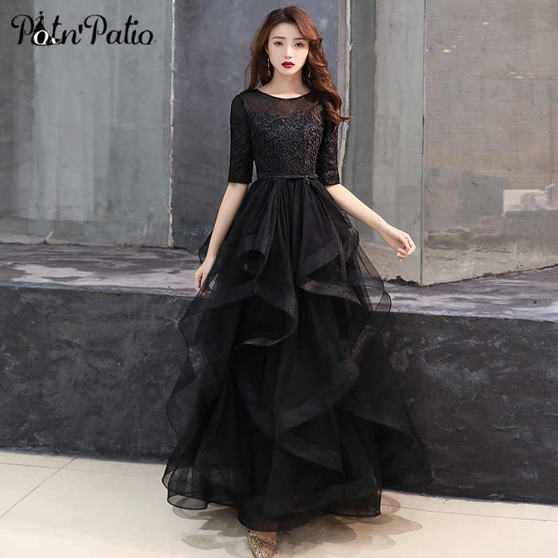 47e1731f2c5 Elegant Black Tulle Prom Dress with Half-sleeve Luxury Ruffle Lace Applique  Long Ball Gown