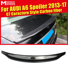 For Audi A6 A6Q Spoiler C7 Caractere Type Carbon Fiber rear spoiler Rear trunk Lid Boot Lip wing car styling Decoration 2013-17 стоимость