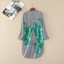 Europe and the United States women's clothing in the spring of 2017 the new leisure stripe printed banana leaf loose dress