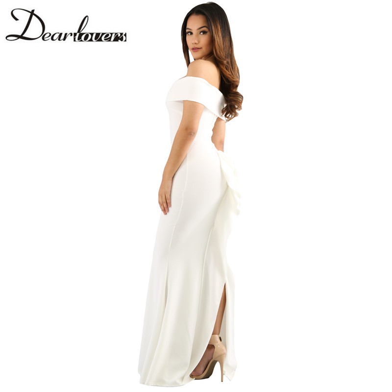 1c5e6a67a6f Dear lover Sexy Women Elegant Mermaid Dress Ladies Rosy Foldover Off  Shoulder Slinky Long Party Dresses LC61786 White-in Dresses from Women s  Clothing on ...