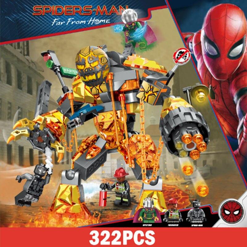 322pcs Legoings Avengers 4  Super Heroes Marvel Molten Spider Man Venom Spiderman Far From Home Building Blocks Brick Toy Figure