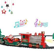 Christmas train sets with beautiful melodies, cool lights, simulation of train sounds, lights, realistic sounds, etc.