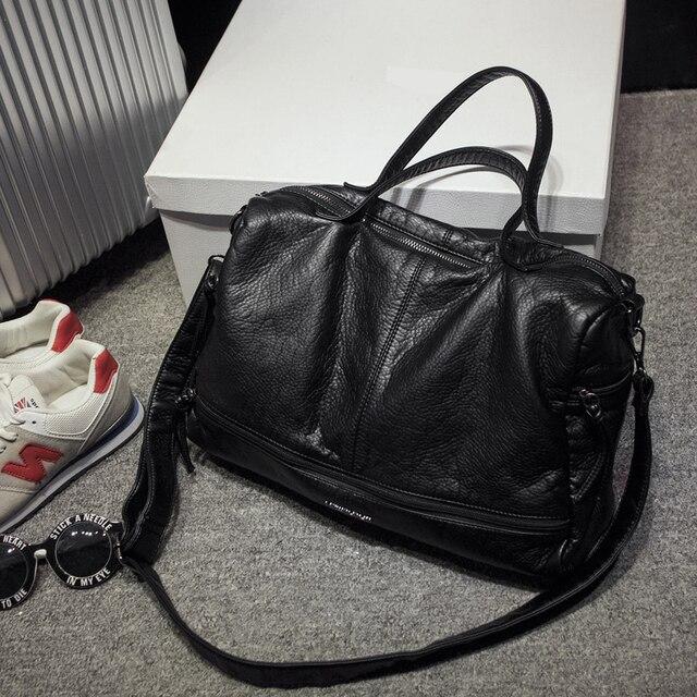 2019 Large Capacity Women Bag Shoulder Tote Bag washed PU Motorcycle  Messenger bags casual handbags Top-handle bags Sac a main 3