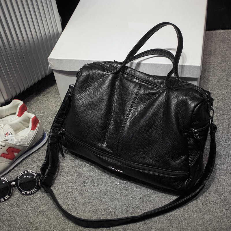 2019 büyük kapasiteli kadın çantası kol çantası çanta yıkanmış PU motosiklet postacı çantası rahat çanta en saplı çanta ana kesesi