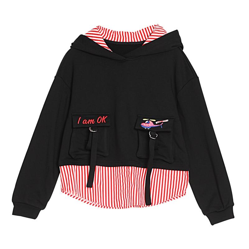 Lâche Pulls Bande 2018 Casual Automne Haute Patchwork Black Qualité Hoodies Femmes Femme Tops Printemps Noir Mode Broderie Jq778 zZ6FZ