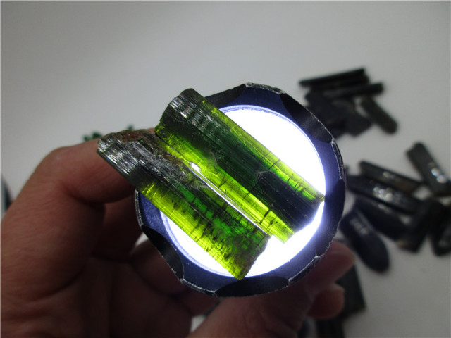 Rare Natural Green Tourmaline Schorl Crystal Gem Original Mineral Specimen Rough Stone