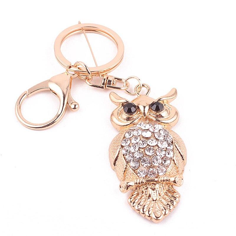 Fashion Cute Owl Luxury Keychain Key Chain Ring Holder Gift Wome Bag Pendant Car  @M23