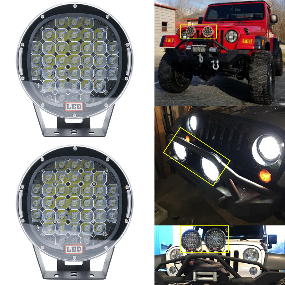 2X 9inch 96W Round LED Spot Driving Work Light For 4WD Truck Bumper Off Road