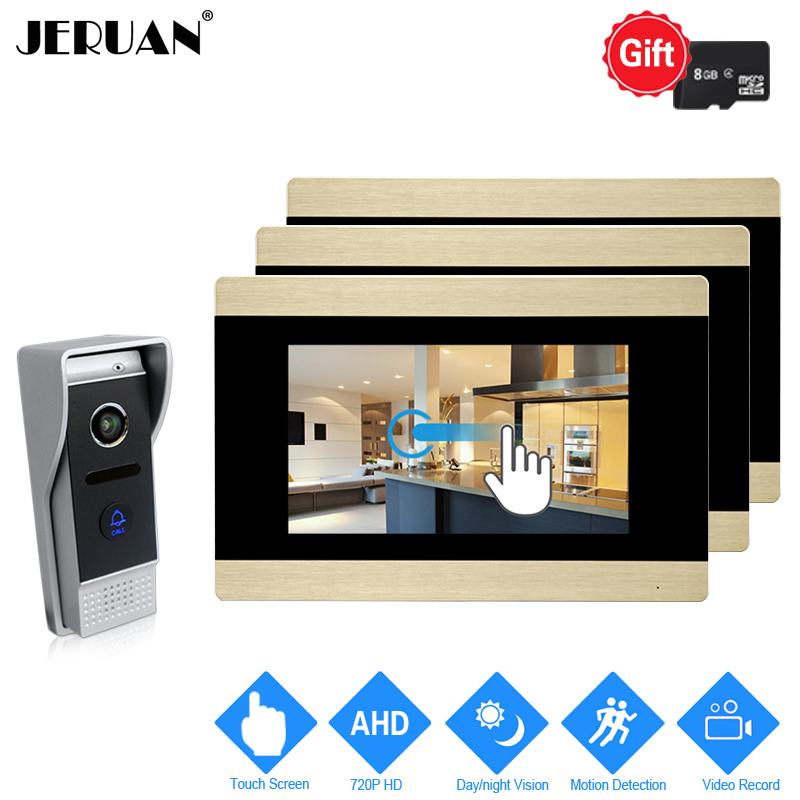 JERUAN 720P AHD Motion Detection 7 inch Touch Screen Video Door Phone Intercom System 3 Record Monitor +HD 110 degree Camera 1V3 jeruan 720p ahd hd motion detection 7 inch video door phone intercom system 3 record monitor 2 hd 110 degree 1 0mp camera 2v3