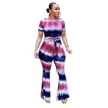 Summer 2 Piece Set Tie Dye Flare Pants Set Short Sleeve Crop Top and Wide Leg Pants Sets Plus Size Women Tracksuit Leisure Suit цена в Москве и Питере