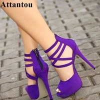 Plus size 35 to 43 Platform Purple Bandage Sandals Lace Up Thin High Heel Summer Shoes Women Suede Leather Zipper Pumps
