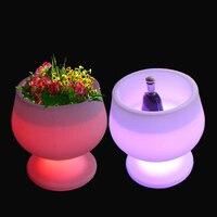 D50 * H52cm Цвет Изменение светящийся флэш чаша горшок расти в темно бокалы Кашпо с пультом дистанционного управления Бесплатная доставка 1 шт.