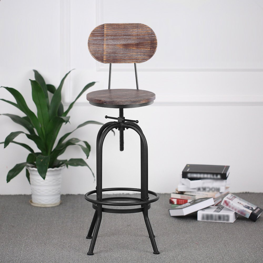 Industrial Style Bar Stool Height Adjustable Swivel Chair Pinewood Top With Backrest Bar Furniture industrial bar chairs furniture design metal adjustable height back rest swivel chair tractor saddle bar stool chair seat