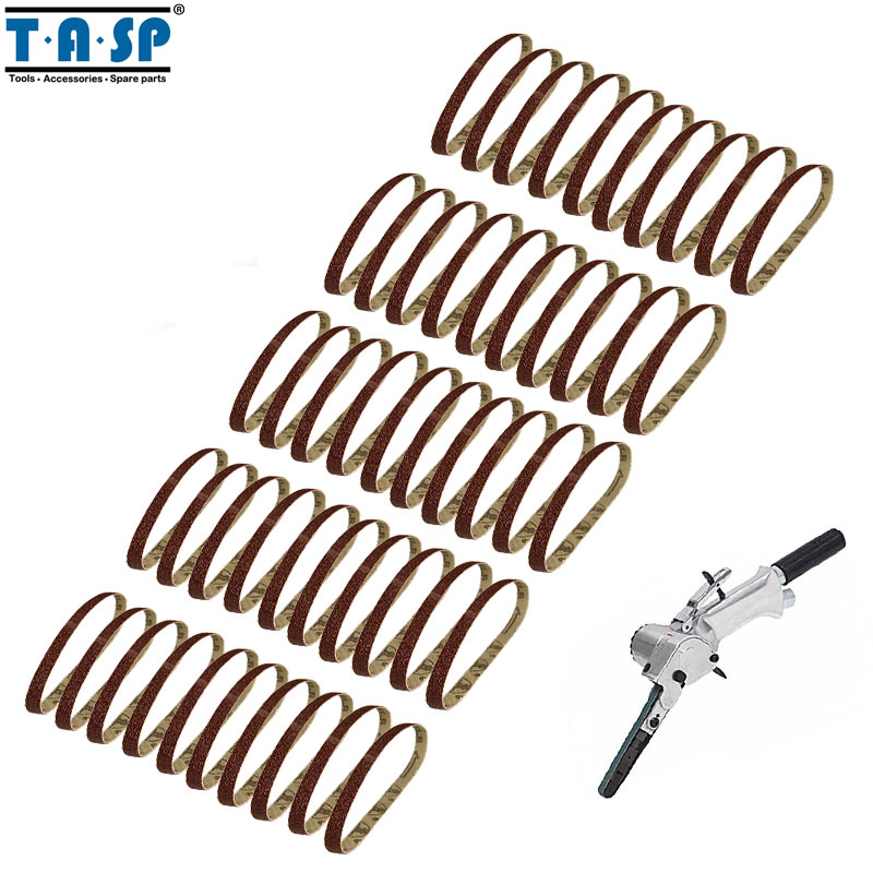 Tools Tasp 50pcs 3/8x13 Belt Sander Sandpaper 10x330mm Sanding Belts Abrasive Aluminium Oxide Woodworking Tools Msb1033006