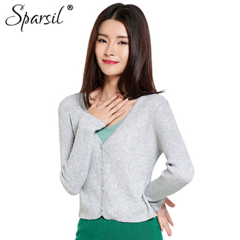 fd3c62a650f Sparsil Для женщин летние v-образным вырезом вязаный тонкие свитера  короткие Дизайн длинный рукав кардиганы Трикотаж джемперы