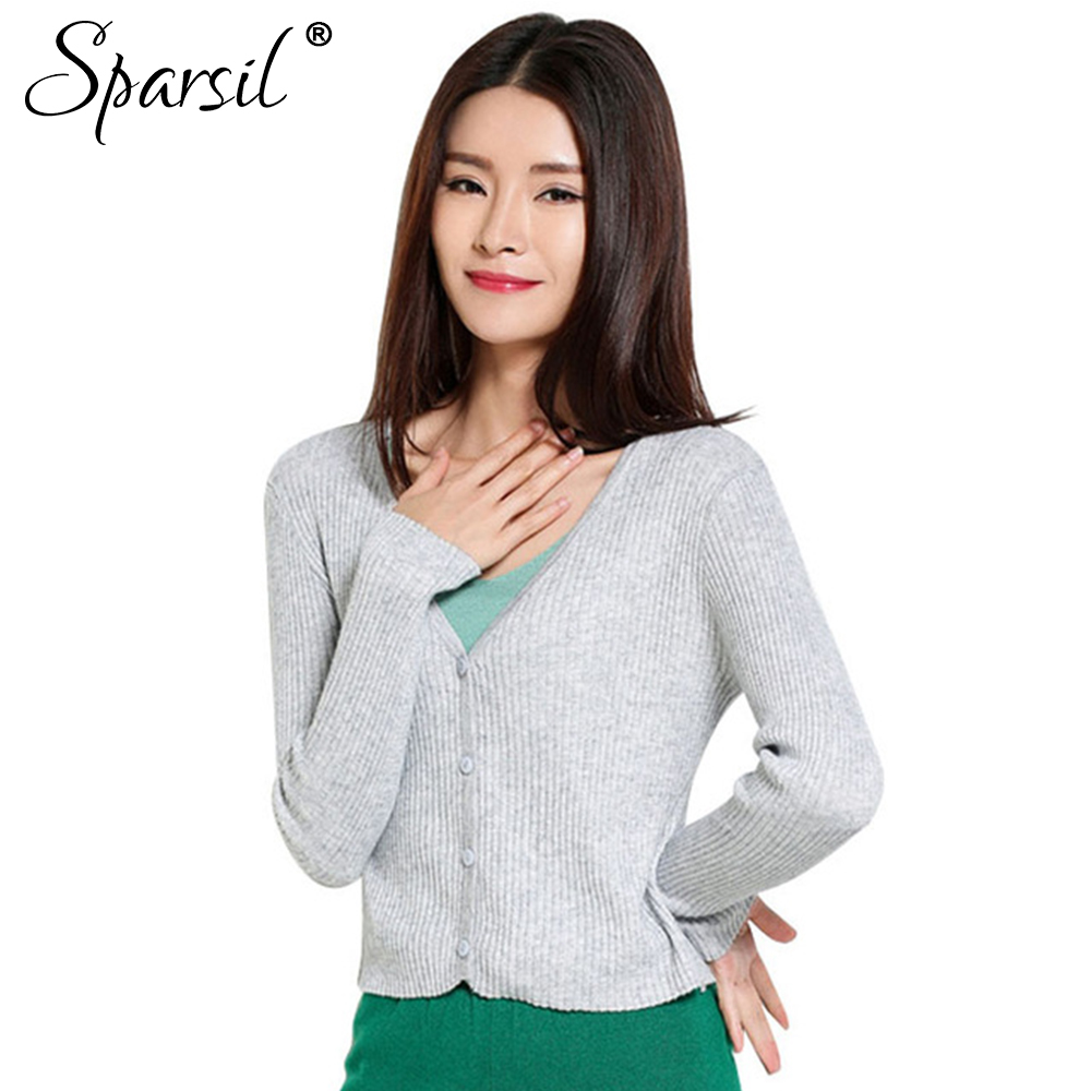 Sparsil Women's Summer V Neck Knitted Thin Sweaters Short Design ...