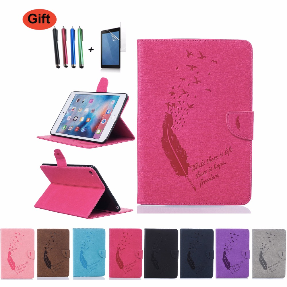 GOOYIYO - For Apple iPad Mini 4 Emboss Painting Case Tablet PU Leather Slim Cover Book Stand Shell with Card Bag&HD Film&Stylus