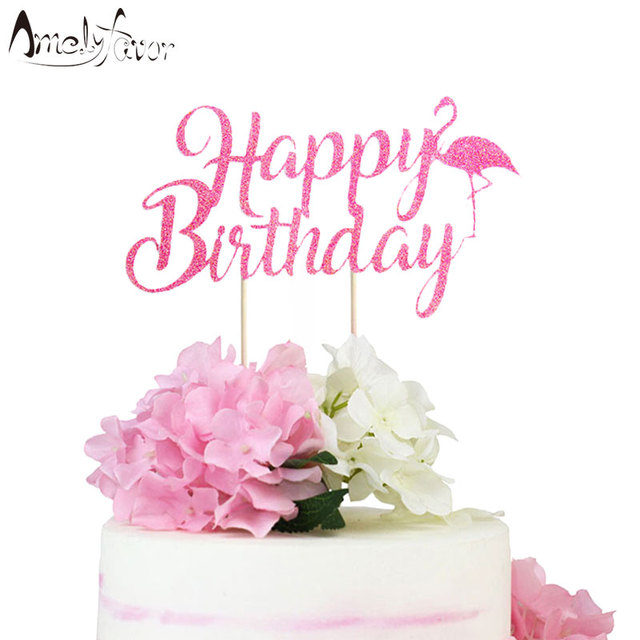 Happy Birthday Flamingo Cake Topper Summer Party Decorations Pink Glitter Supplies