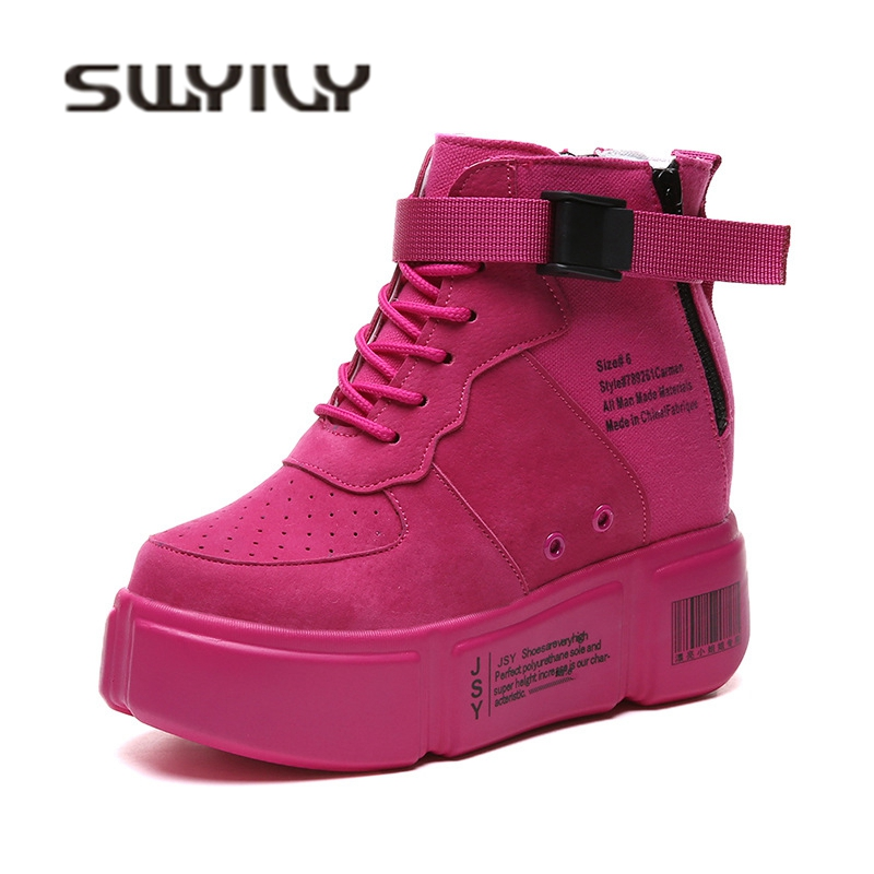 SWYIVY Wedge Plate-Forme Sneakers Chaussures Femme 2018 Automne Occasionnel Femelle Chaussures Caché Wedge Étudiant De Mode Sneaker Boucle Rouge Jaune