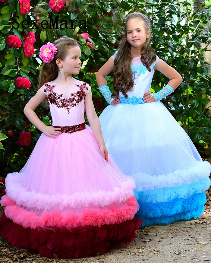 все цены на 2019 Cloud Ruffle Dress Flower Girl Dress Aqua for Wedding Princess Dress Rainbow Birthday Dress Special occasion Custom Made