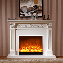 European style fireplace set wooden mantel W150cm with electric fireplace insert burner artificial LED optical flame decoration