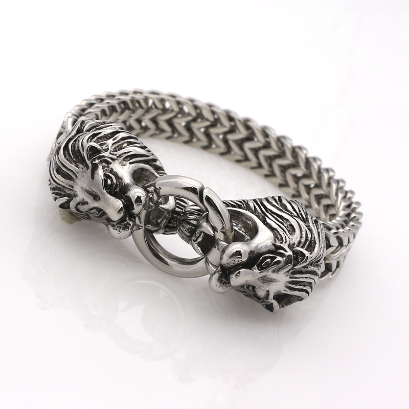 2016 New Designer Fashion Lion Jewelry Classical Silver Double Lion Bracelet Bangle For Mens Chain Bracelet Best Gifts bracelet