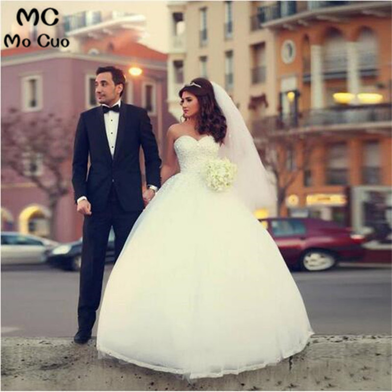 Elegant 2018 Ball More color Custom made Lace Up Pearls Beaded Ivory Bridal Gown women vestido de festa Wedding Dresses gown