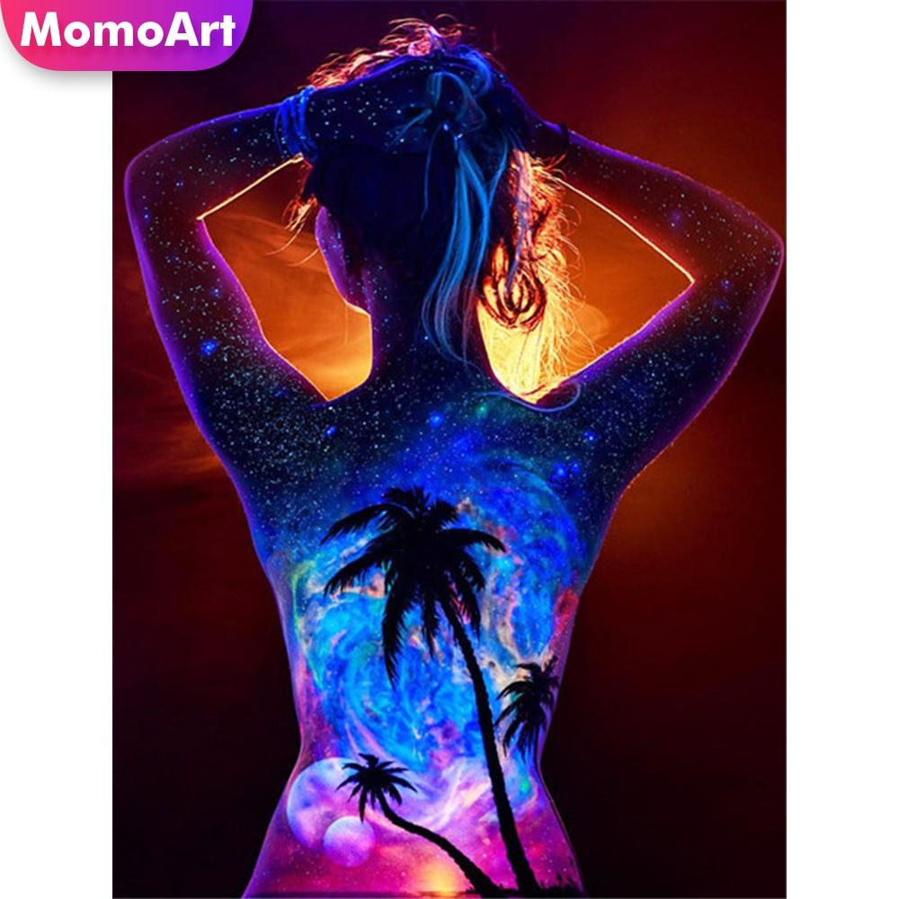 MomoArt Diamond Painting Girl Embridery Full Square Rhinestone Mosaic Back View Home Decoration