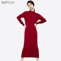 ROPALIA Spring Winter Women Vintage Dress Long Sleeve Wool Solid Dresses Casual Female Autumn Warm Party